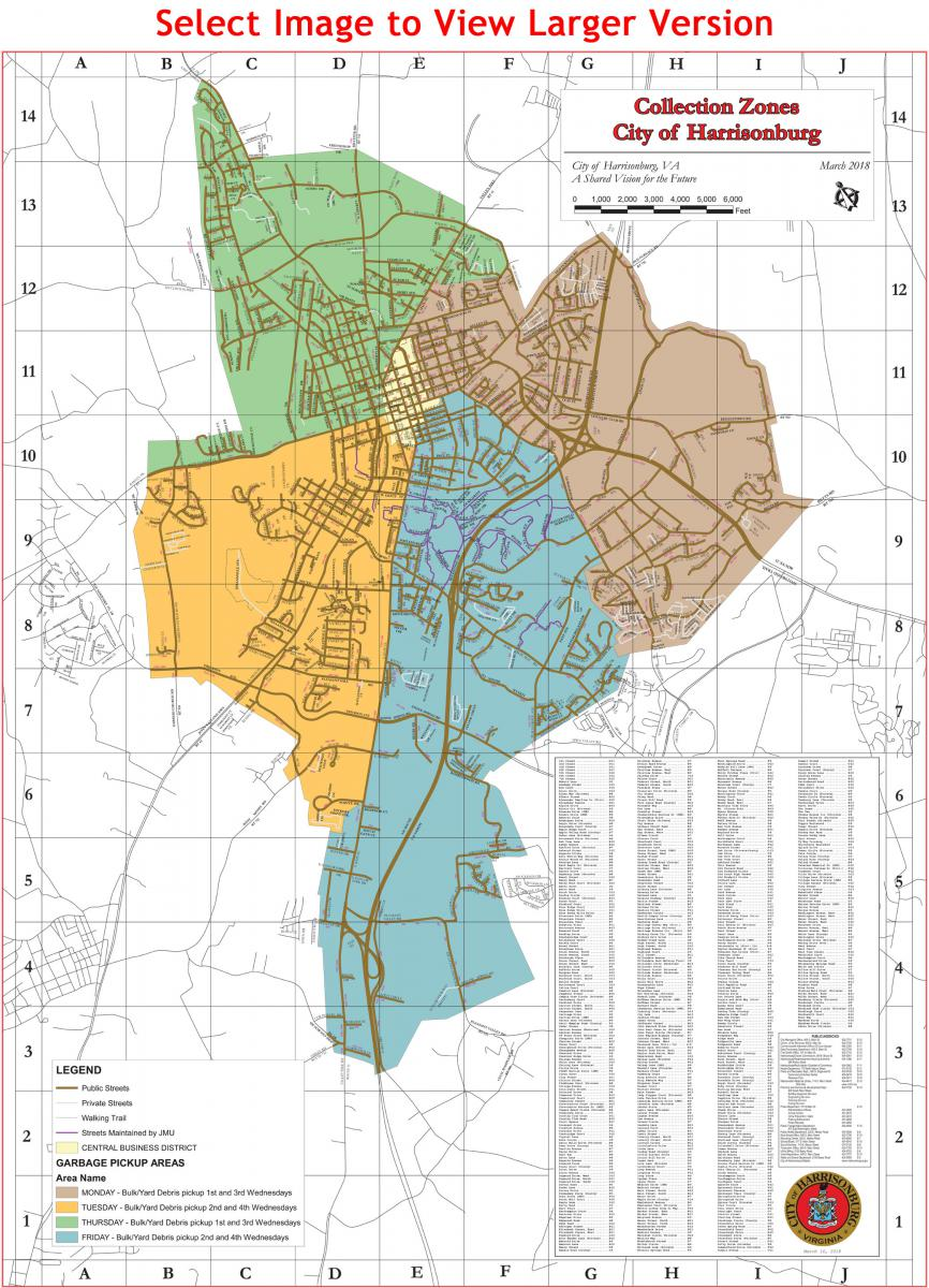 Harrisonburg trash collection map (collection zones)