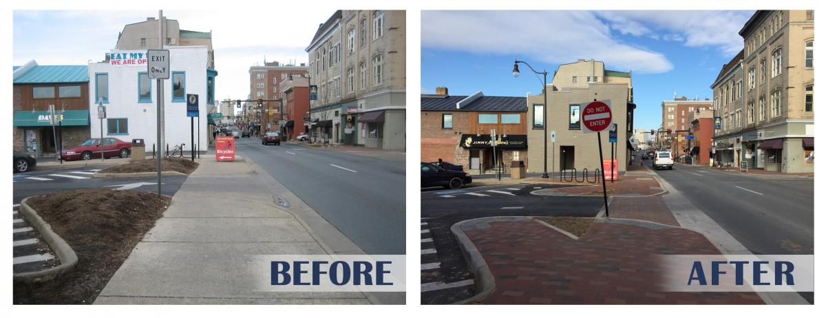 Before and After downtown streetscape project